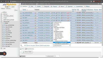 Zmiana przedrostka tablicy w bazie danych z wykorzystaniem aplikacji phpMyAdmin