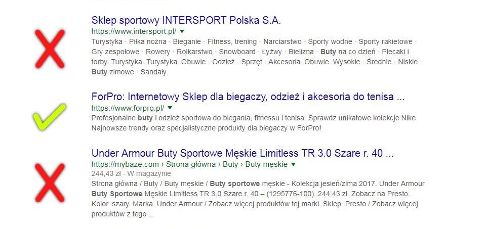 Zrzut ekranowy strony z wynikami wyszukiwania – przykład nieefektywnego opisu meta.